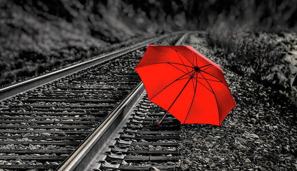 Wall Art - Photograph - Umbrella On Train Track by Naman Imagery