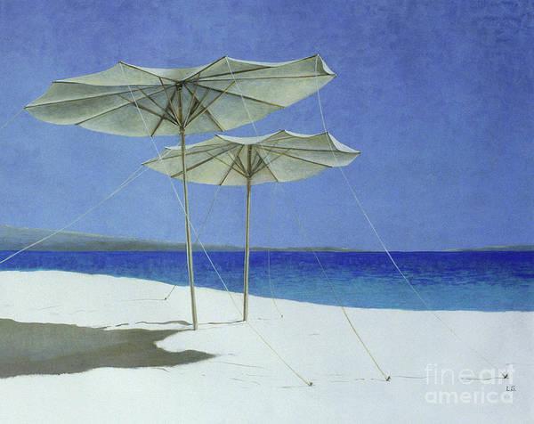 Sunbathing Painting - Umbrellas, Greece by Lincoln Seligman