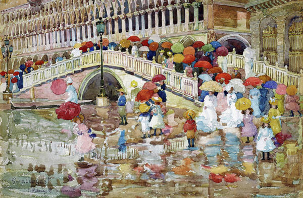 Wall Art - Painting - Umbrellas In The Rain - Digital Remastered Edition by Maurice Brazil Prendergast