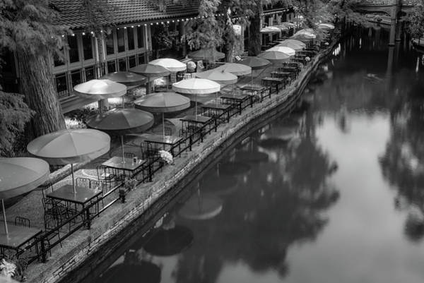 Photograph - Umbrellas Of Casa Rio - San Antonio Riverwalk Monochrome by Gregory Ballos