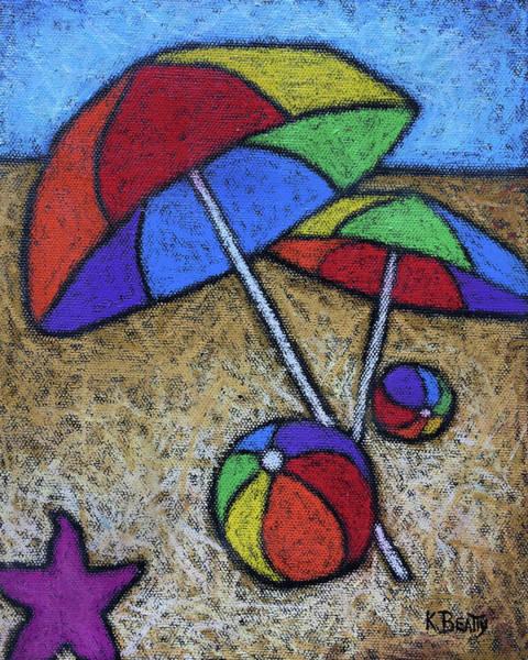 Wall Art - Painting - Umbrellas On The Beach by Karla Beatty