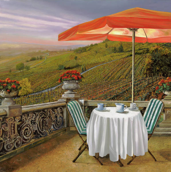 Romantic Wall Art - Painting - Un Caffe' Nelle Vigne by Guido Borelli