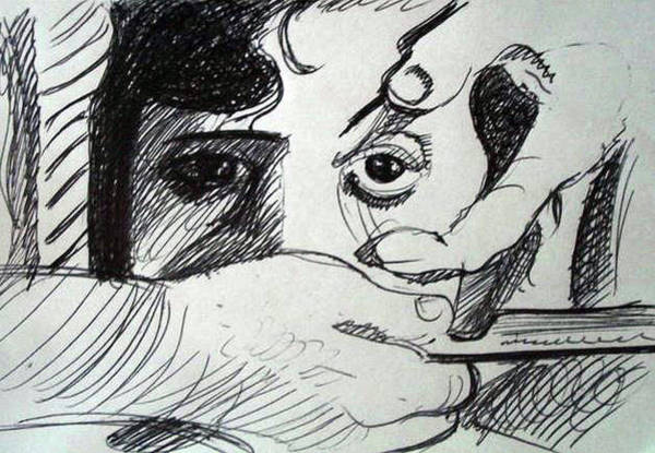 Chien Drawing - Un Chien Andalou by Mike Etoll