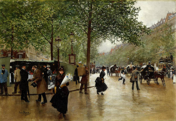 Wall Art - Painting - Un Grand Boulevard  by Jean Beraud