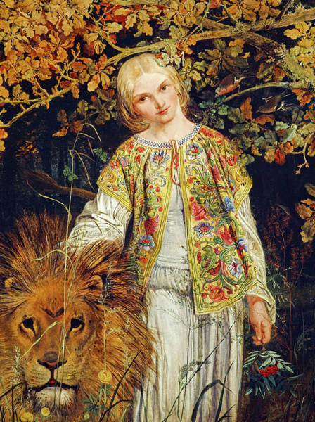 Wall Art - Painting - Una And The Lion by William Bell Scott