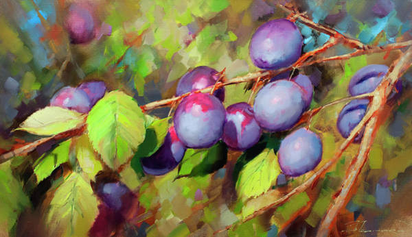 Plums Painting - Uncle Plum Sweeter. In The Village Of Alabushevo by Alexey Shalaev