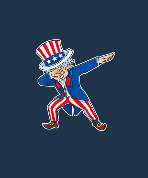 Wall Art - Digital Art - Uncle Sam Dabbing Dab 4th Fourth Of July Patriotic T-shirt by Unique Tees
