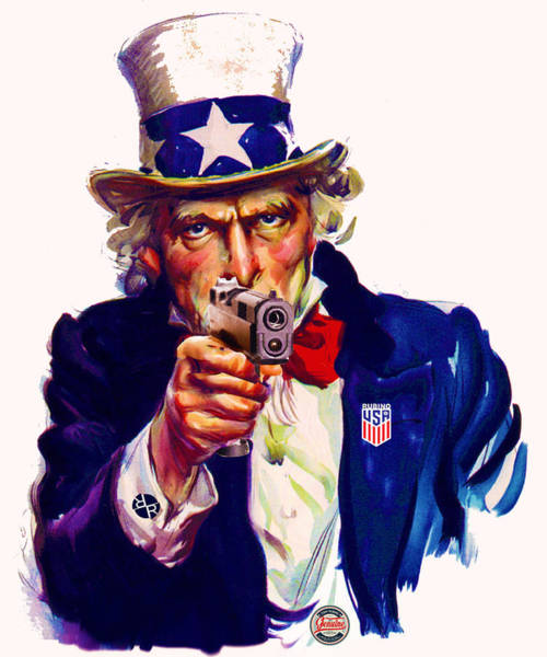 Painting - Uncle Sam With Gun Usa by Tony Rubino