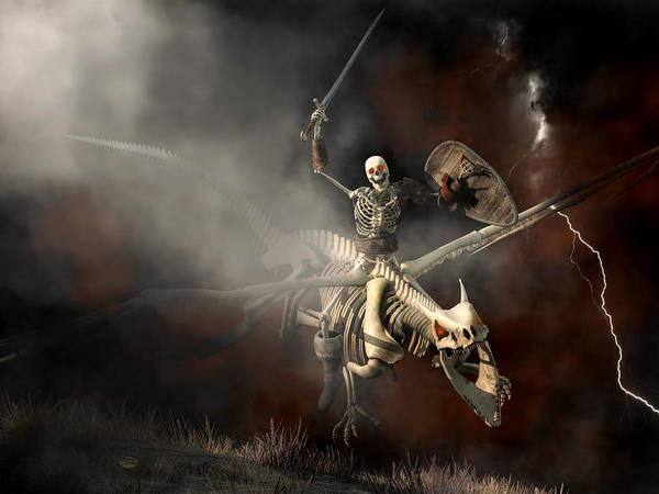 Digital Art - Undead Dragon And Skeleton Rider by Daniel Eskridge