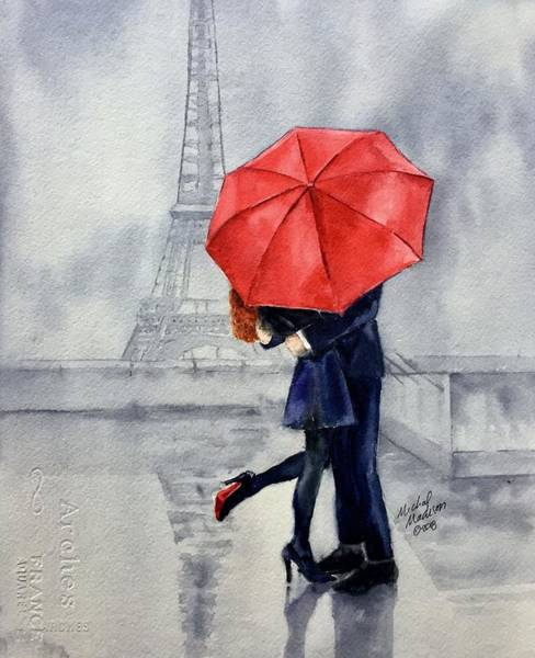 Painting - Under A Red Umbrella by Michal Madison
