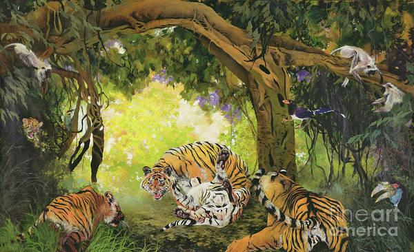 Wall Art - Drawing - Under The Banyan Tree by Odile Kidd
