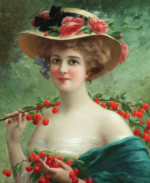 Wall Art - Painting - Under The Cherry Tree, 19th Century by Emile Vernon