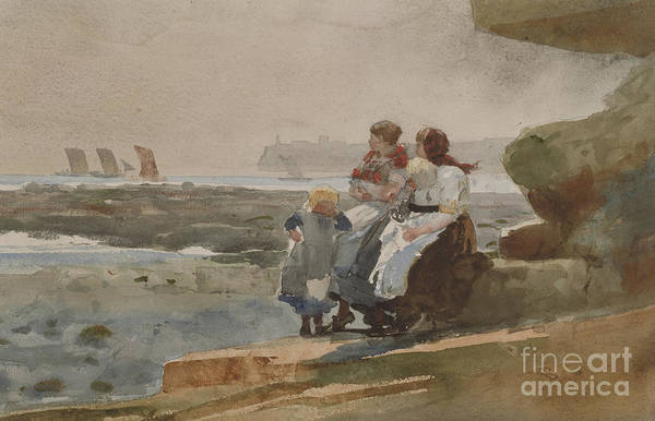Wall Art - Painting - Under The Cliff, Cullercoats , 1881 by Winslow Homer