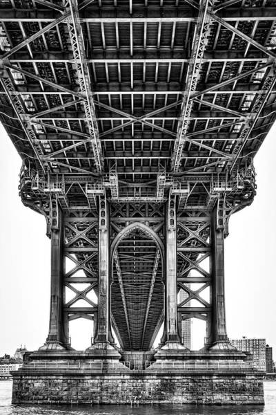 Photograph - Under The Manhattan Bridge Bw by Susan Candelario