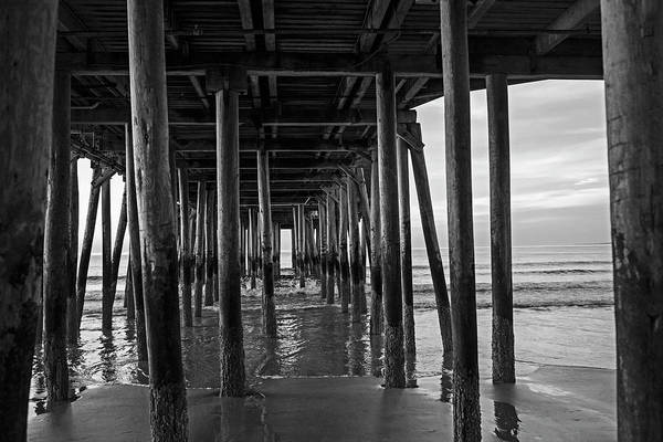 Photograph - Under The Old Orchard Pier At Sunrise Maine Black And White by Toby McGuire