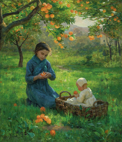 Wall Art - Painting - Under The Orange Tree by Virginie Demont-Breton