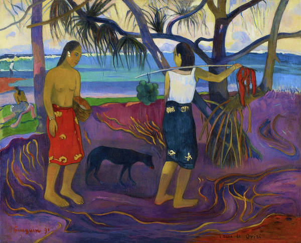 Gauguin Painting - Under The Pandanus II - Digital Remastered Edition by Paul Gauguin
