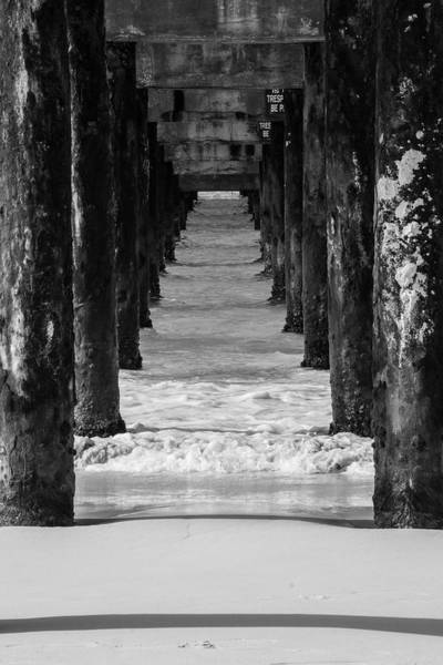 Photograph - Under The Pier #2 Bw by Stuart Manning