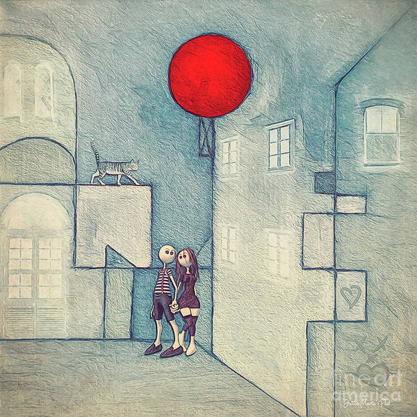 Digital Art - Under The Red Balloon by Jutta Maria Pusl