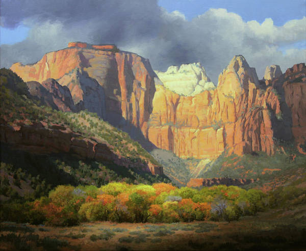 Zion Painting - Under The Temples Glow by John Cogan