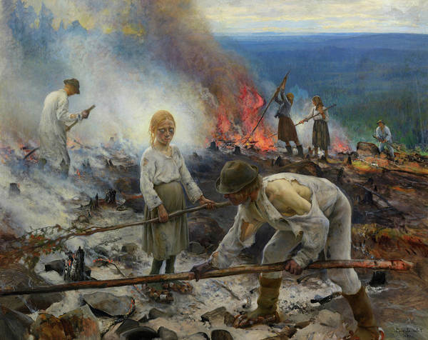 Wall Art - Painting - Under The Yoke, Burning The Brushwood by Eero Jarnefelt