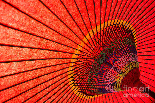 Wall Art - Photograph - Underside Of Red Japanese Parasol by Sam Chadwick