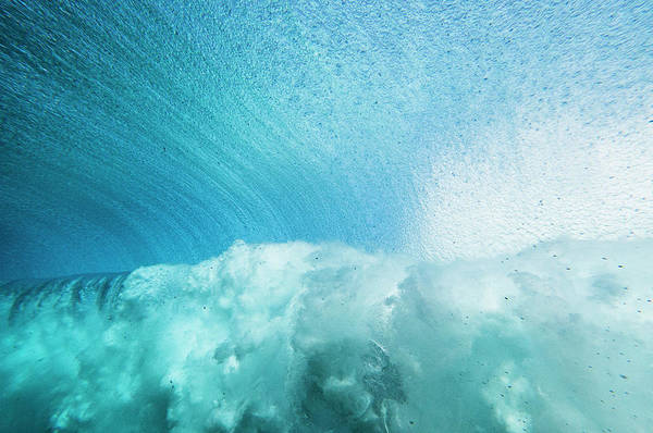 Rarotonga Photograph - Underwater View Looking Out As A Wave by Thomas Pickard