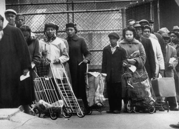 Wall Art - Photograph - Unemployed People Lined Up For Surplus F by Gordon Parks