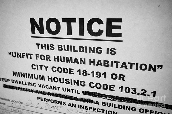 Wall Art - Photograph - Unfit For Human Habitation Notice Posted In The Window Of A Property In Florida Fl Usa United States by Joe Fox
