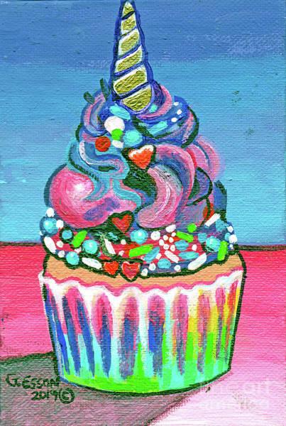 Wall Art - Painting - Unicorn Cupcake by Genevieve Esson