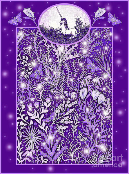 Digital Art - Unicorn Garden Design In Purple by Lise Winne