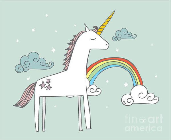 Unicorn Horn Digital Art - Unicorn Vectorillustration by Lyeyee