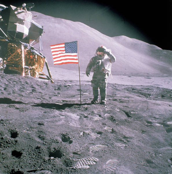 Photograph - Unident. Apollo 15 Astronaut Saluting Am by Time Life Pictures