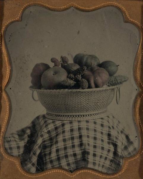 Painting - Unidentified Basket With Produce Ca. 1860 Ambrotype by Celestial Images