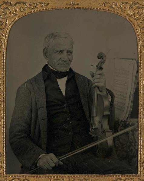 Painting - Unidentified Elderly Man With Violin Ca. 1870 Ambrotype by Celestial Images
