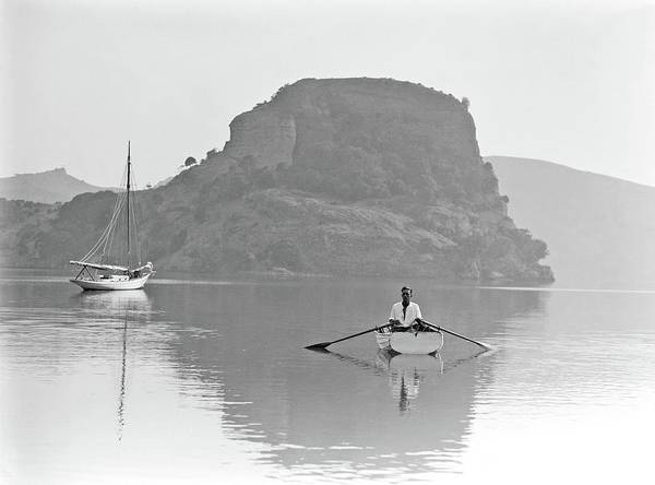Painting - Unidentified Man In Dinghy, Whangaparoa Harbour, Northland, 1930 By Leo White by Leo White