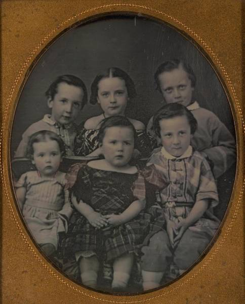 Painting - Unidentified Six Children Ca. 1860 Daguerreotype by Celestial Images