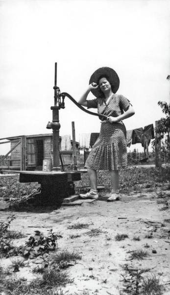 Painting - Unidentified Woman Standing At Water Well  By Luther Hamilton by Luther Hamilton