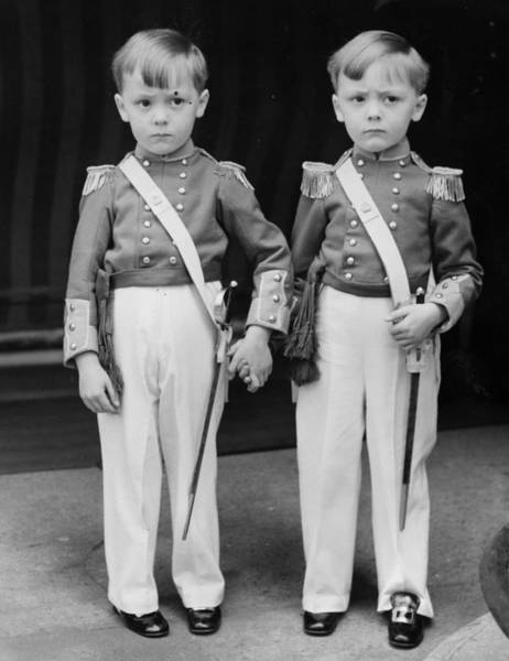 Triplets Photograph - Uniformed Twins by Norman Smith