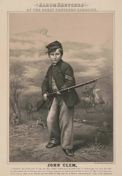 Wall Art - Painting - Union Drummer Boy John Clem, 1863 by American School