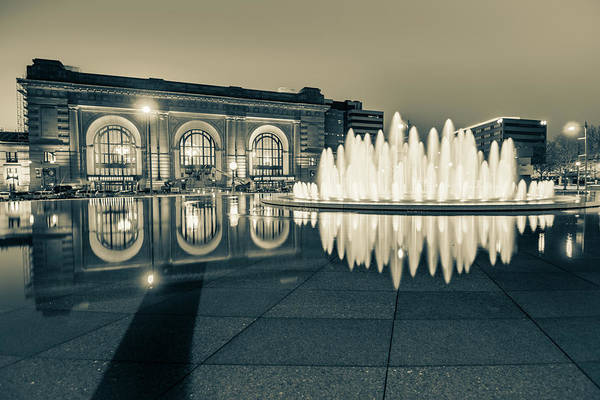 Photograph - Union Station Bloch Fountain In Sepia - Kansas City Architecture by Gregory Ballos