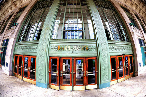 Photograph - Union Station Exterior Fisheye In Chicago by John Rizzuto