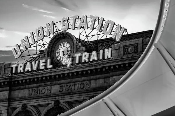 Photograph - Union Station Travel By Train - Denver Colorado Monochrome by Gregory Ballos