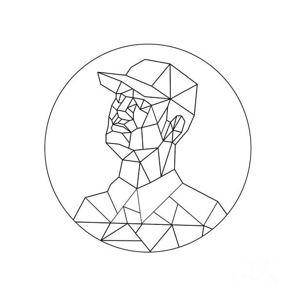 Wall Art - Digital Art - Union Worker Looking Up Low Polygon Black And White by Aloysius Patrimonio