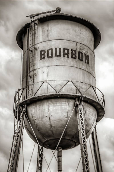 Photograph - Unique Whiskey Bourbon Barrel Water Tower - Sepia by Gregory Ballos