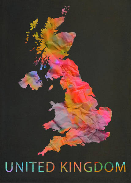 England Mixed Media - United Kingdom England Tie Dye Country Map by Design Turnpike