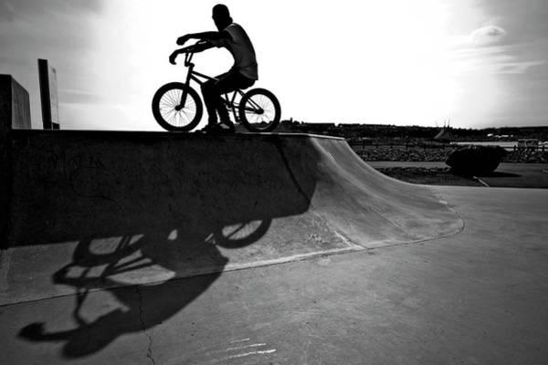 Bmx Photograph - United Kingdom, Wales, Man On Bmx Bike by Win-initiative