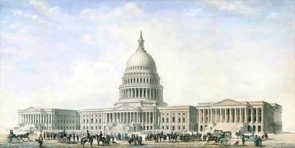 Drawing - United States Capitol Design For New Dome And Wings 1855 by Thomas Ustick Walter