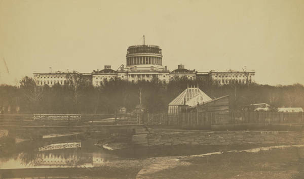 Photograph - United States Capitol Under Construction by Unknown