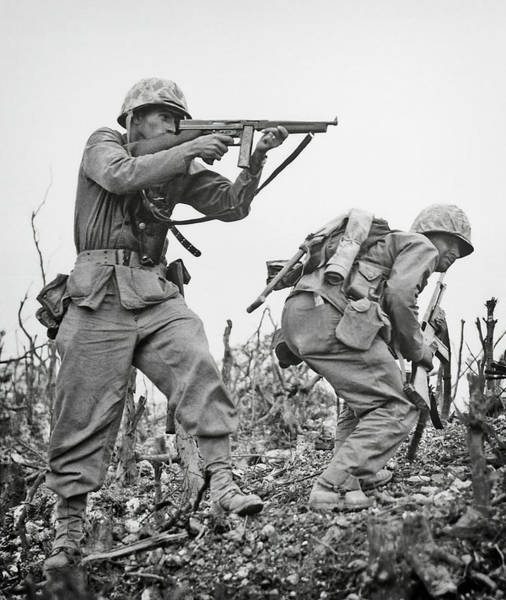 Life Or Death Photograph - United States Marines Fighting On Okinawa by Daniel Hagerman